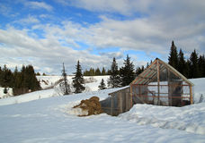Rural Alaskan greenhouse in winter Royalty Free Stock Photography