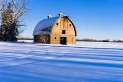 Farm barn in winter, rural Alberta Royalty Free Stock Image