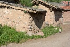 A rural alleyway under the sun, Shanxi, China. royalty free stock photo
