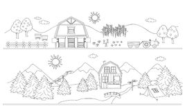 Rural and alpine landscape. Rural landscape and alpine landscape in black and white illustration Stock Photography