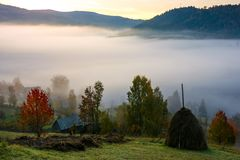 Rural area on foggy autumn morning. Gorgeous countryside landscape in mountains Stock Photo
