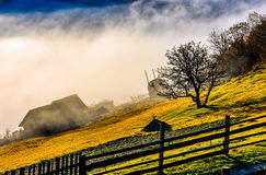 Rural area at foggy autumn sunrise. Rural area on hillside in autumn season. agricultural field and houses in fog behind the fence. beautiful and vivid Royalty Free Stock Photo