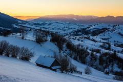 Rural area in mountains at sunrise Stock Photos