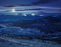 Rural area with snowy mountain tops at night Royalty Free Stock Images