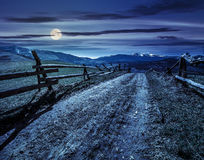 Rural area with snowy mountain tops at night Stock Image