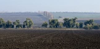 Rural areas, the plowed fields, in the middle trees, fall, subje Royalty Free Stock Photos