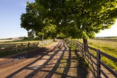 Rural areas. The wooden fence which is fencing off the road and a field. Belarus Stock Photos