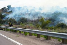Fighting a Wildfire in Arizona stock images