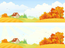 Rural autumn banners. Illustration of beautiful rural autumn banners Royalty Free Stock Images