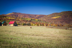 Rural autumn landscape in the mountains . Small houses and horses Royalty Free Stock Photo