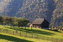 Rural autumn landscape in the mountains . Traditional rural autumn landscape in the mountains Stock Photography
