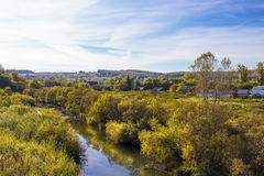 Rural autumn landscape with river Stock Photo