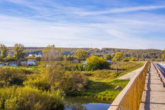 Rural autumn landscape with river Stock Photos