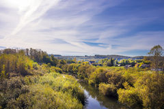 Rural autumn landscape with river Stock Image