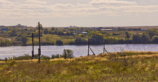 Rural autumn landscape with river. Russia. Southern Urals Stock Photo