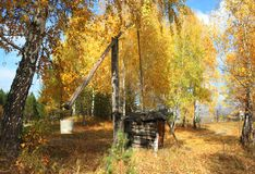 Rural autumn landscape. Mountain village Stock Photo