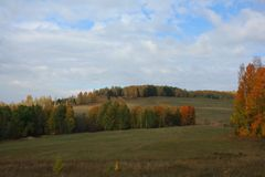 Rural autumn landscape. Village well Royalty Free Stock Images