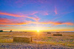 Rural autumn landscape at sunset Stock Photography
