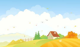 Rural autumn scene royalty free illustration