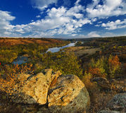 Rural autumn sunset. Landscape with river and  colorful trees Royalty Free Stock Photography