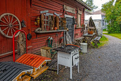 Rural back yard. With decoration of vintage objects in Tammisaari, Finland royalty free stock images