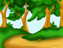 Rural background. Color illustration of a path in the woods Stock Photography