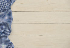 Rural background with blue checkered fabric. Rural white wood background with blue checkered fabric Stock Images