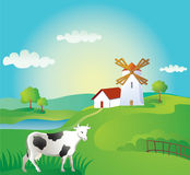 Rural background with cow. And windmill Stock Image