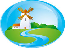 Rural background with mill. And river Royalty Free Stock Images