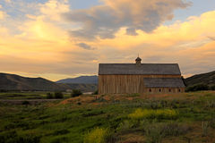 Rural barn with amazing sky. Royalty Free Stock Photo