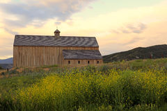 Rural barn with amazing sky. Stock Photo