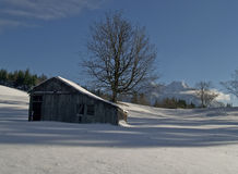 Rural barn and pasture in winter Royalty Free Stock Image