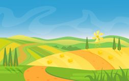 Rural beautiful landscape. Fields and hills at dawn vector illustration. Rural beautiful landscape. Fields and hills at dawn vector illustration Royalty Free Stock Images