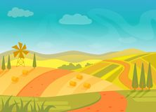 Rural beautiful village landscape with mountains and hills, vector illustration. Stock Photo