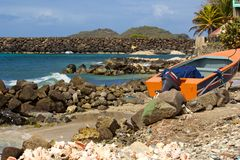 Rural Bequia, Caribbean. Panorama of a quiet rural shore in Bequia island, Caribbean Stock Photography