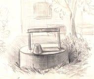 Rural bien con agua dibujo de lápiz pintado a mano Imagen de archivo