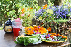 Rural breakfast with flowers Stock Photo