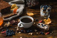 Rural Breakfast on Wooden Table Stock Photo