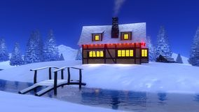 Rural cabin near frozen river at winter night Stock Photography