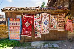 Rural carpet vernissage in Bulgaria Royalty Free Stock Photo