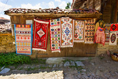 Rural carpet vernissage in Bulgarian village Royalty Free Stock Photos