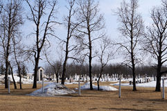 Rural Cemetery with Spooky Trees Stock Photography