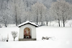 Rural chapel in winter Stock Photo