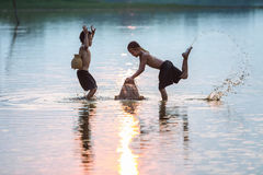 Rural children are fishing. Royalty Free Stock Images