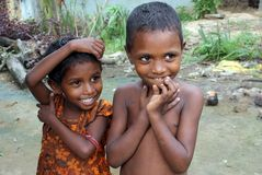 Rural Children in India. September 05, 2011.Bolepur,Birbhum,West Bengal,India,Asia-Poor children smiling in the remote village of West Bengal Stock Image