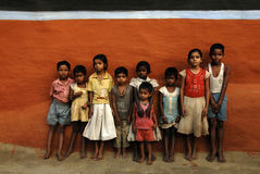 Rural Children in India. October 28,2011 Kashipur,Purulia,West Bengal,India,Asia-A group of rural children are posing in a tribal village of India Stock Photos