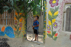 rural children look broken mud house small tribal art village west bengal india where few families having 65496228