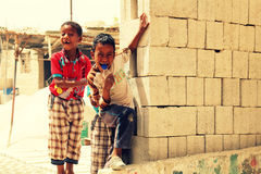 Rural children. Two orphan boys posing for the camera Stock Photo