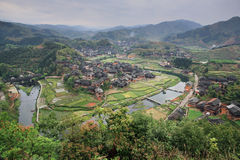 Rural China, look with aerial view of farmhouses peasant village Royalty Free Stock Photos