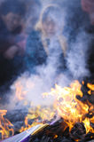 Rural China Spring Festival sacrifice. In the Chinese countryside vulcan, the villagers in the burn incense worshipping Buddha Stock Image